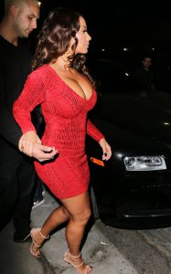 Amber Rose Busty Cleavage In A Dress (And Another Wig)